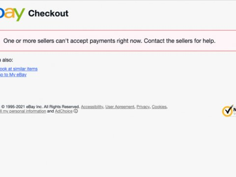 "About the eBay ""One or more sellers can't accept payments right now"" Message"