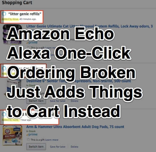 Amazon Echo Alexa One-Click Ordering Broken - Just Adds Things to Cart Instead