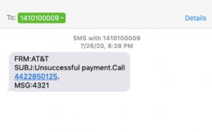 Bogus AT&T Text Message from 1410100009 is Effort to Steal Your Personal Information