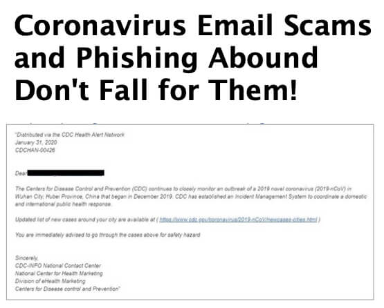 Coronavirus Email Scams and Phishing Abound - Don_t Fall for Them!