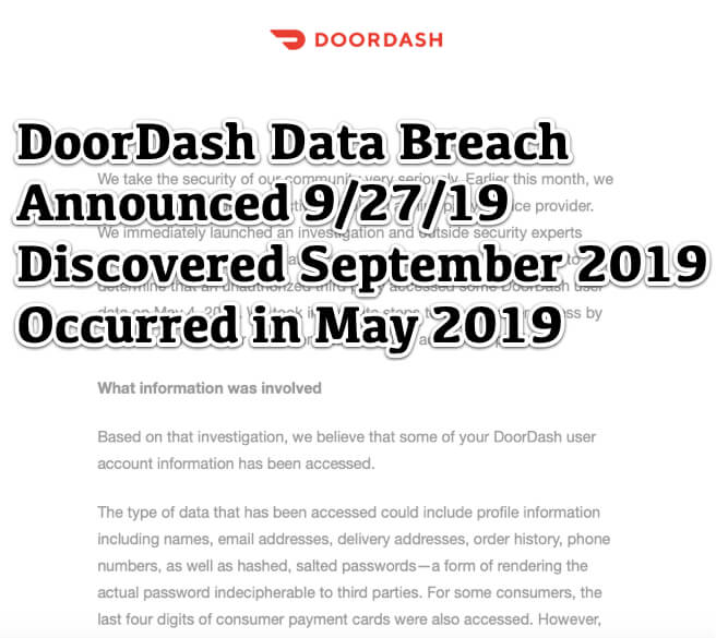 Door Dash Data Breach - Discovered September 2019 Occurred in May 2019