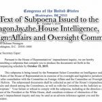 Full Text of Subpoenas Issued to the Pentagon and OMB by the House Intelligence, Foreign Affairs and Oversight Committees in the Matter of the House Impeachment Inquiries