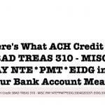 Here's What ACH Credit SBAD TREAS 310 – MISC PAY NTE PMT EIDG or EIDL Means
