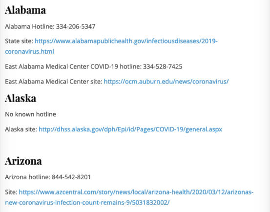 List of Coronavirus Information Hotlines by State (Phone and Email Hotlines for COVID-19 Information)