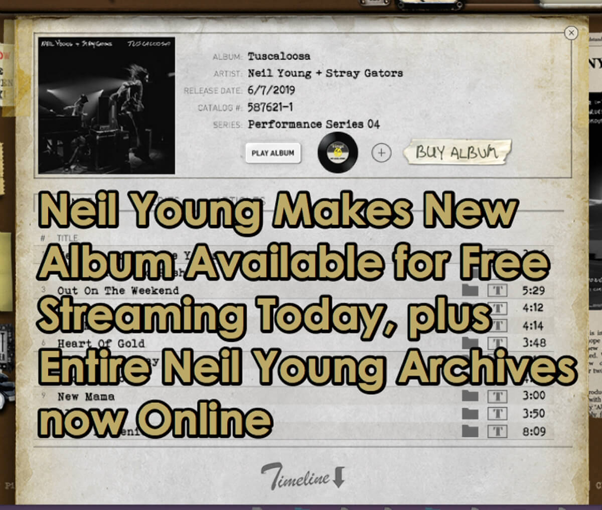 Neil Young Makes New album available streaming