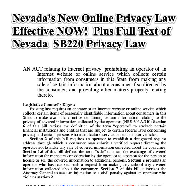 Nevada New Online Privacy Law Effective NOW Also Full Text of Nevada SB220 Privacy Law