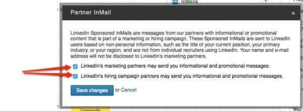 opt out of linkedin marketing inmail