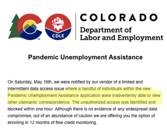 State of Colorado Pandemic Unemployment System Compromised