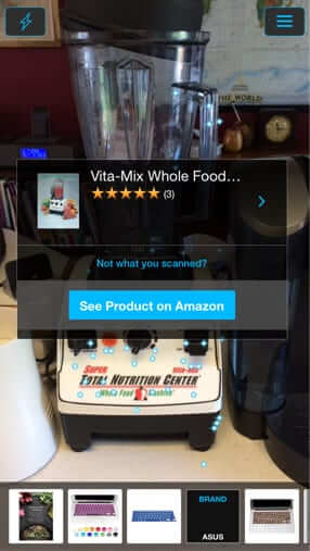 amazon flow identifies vitamix scanning scanner