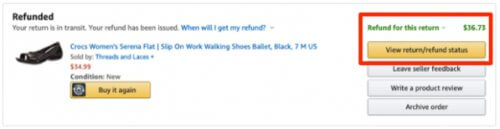 amazon where to view return refund status