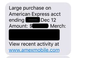 american express mobile text notification of charge