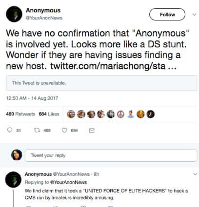 anonymous statement daily stormer hacking