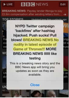 bbc breaking news nudity game of thrones