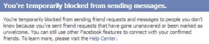 blocked from sending messages on Facebook