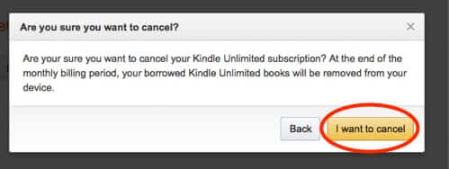 cancel kindle unlimited button