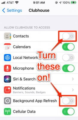 clubhouse app in iphone settings