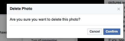 confirm photo deletion on facebook