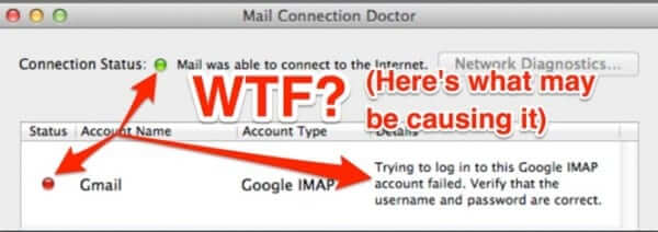 connection doctor unable to connect to gmail