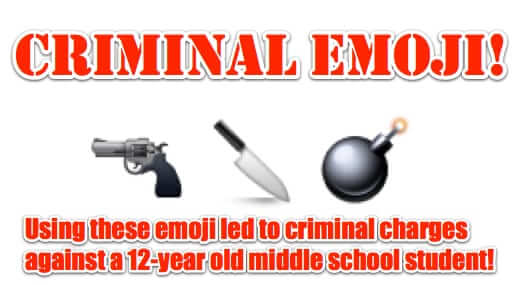 emoji 12 year old criminal charges arrested