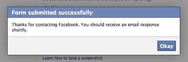 facebook ad reporting form successfully submitted