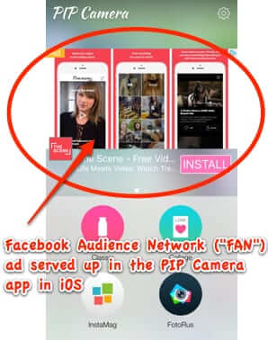 facebook audience network fan ad displayed in app