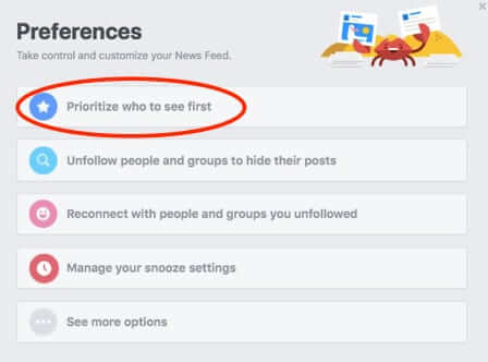 facebook newsfeed preferences popup