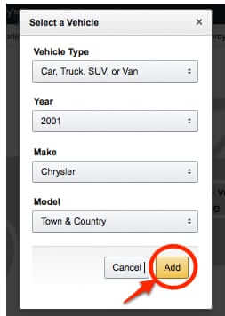 filled out form to add vehicle to amazon garage