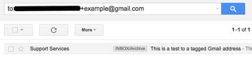 filter email to tagged addresses gmail
