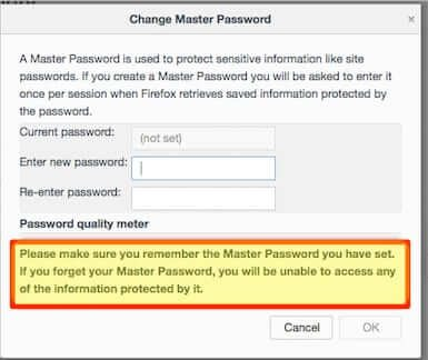 firefox set change master password