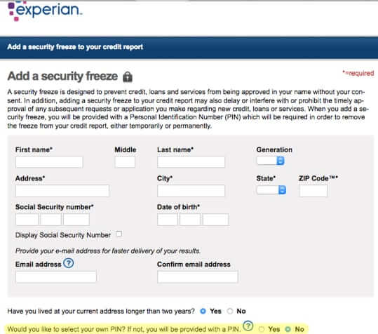 freeze credit at experian