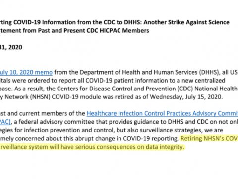 DivertingCOVID-19Informationfromthe CDC to DHHS:AnotherStrikeAgainstScience A StatementfromPast andPresentCDC HICPAC Member