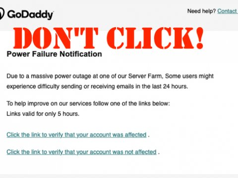 godaddy power failure phish