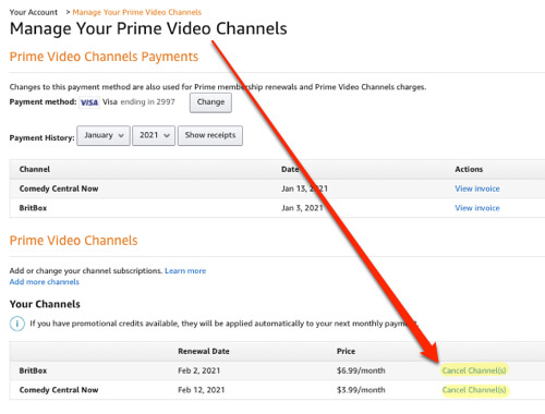 how to cancel prime video channels subscriptions