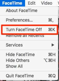 how to disable facetime mac turn off