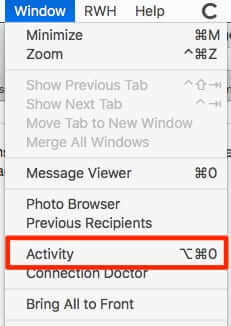 how to find activity monitor mac mail app