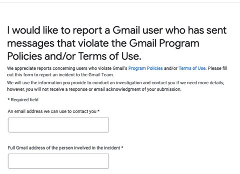 how to report a gmail spammer to gmail