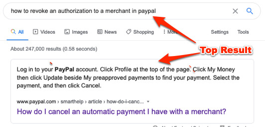 how to revoke an authorization to a merchant in paypal