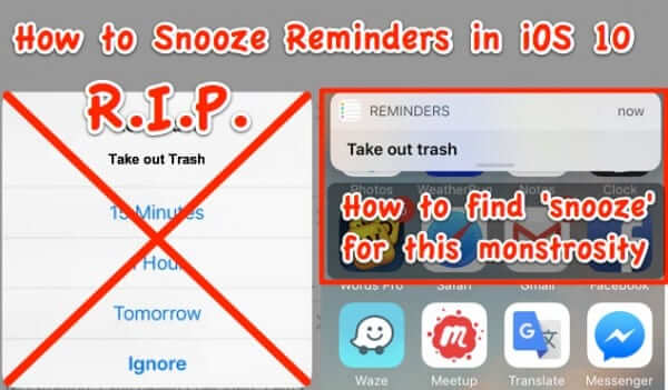 how to snooze reminder alerts in ios 10
