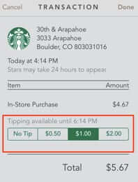 how to tip starbucks app