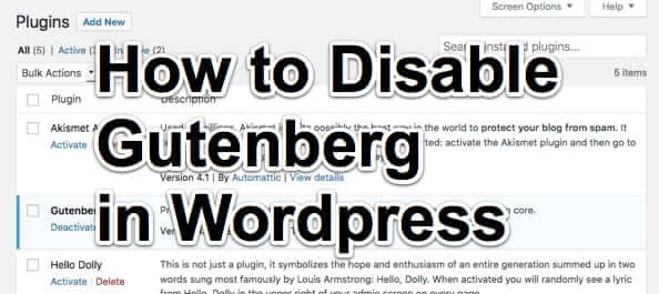 How to Disable the WordPress Gutenberg Editor
