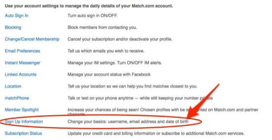 how to change date of birth on match.com