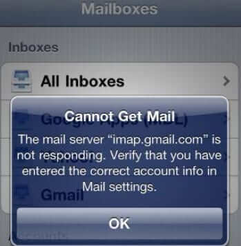 iphone cannot get mail email app issue