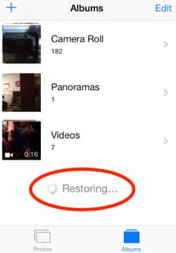 iphone photos disappear restoring