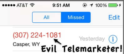 iphone telemarketer missed call