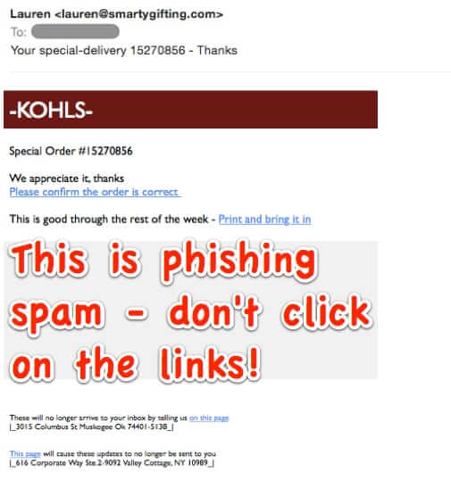 kohls phishing spam