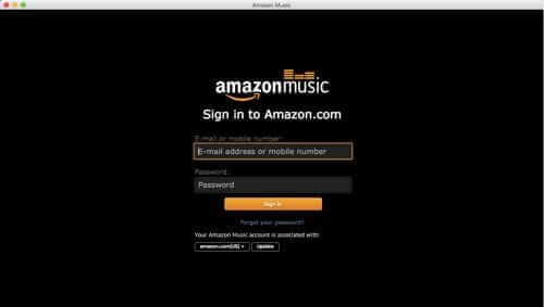 log in to amazon music