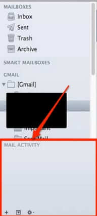 mail activity monitor mac bottom of mailboxes