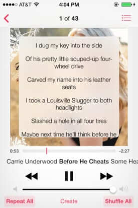 music lyrics songs ios 7