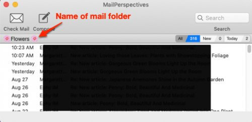 new perspectives mail folder