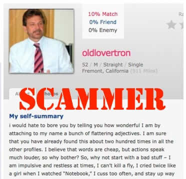 online dating site scam scammer